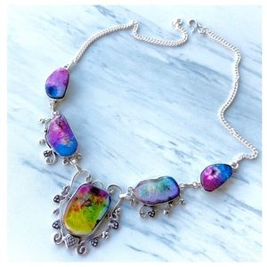 925 Sterling silver rainbow solar quartz necklace